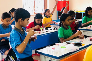best school kompally Hyderabad EVS activity on Materials and Solution day 6